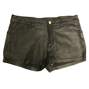 Forever 21 Black, Faux Leather Shorts, Size 10